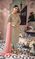 EMBROIDERED NET HAND MADE FRONT AND SLEEVES EMBROIDERED NET BACK EMBROIDERED CHIFFON HAND MADE DUPPATA EMBROIDERED GRIP TROUSER AND ACCESSORIES