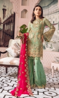 EMBROIDERED CHIFFON FRONT BACK AND SLEEVES EMBROIDERED FRONT BACK DAMAN PATCH EMBROIDERED CHIFFON DUPPATA EMBROIDERED GRIP TROSER AND ACCESSORIES