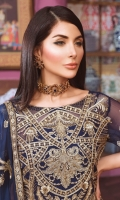 EMBROIDED CHIFFON FRONT, BACK AND SLEEVES. EMBROIDED CHIFFON DUPATTA EMBROIDED DAMAN PATCH. JAMAWAR TROUSER AND ACCESSORIES.