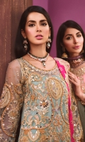 EMBROIDED HANDMADE NET FRONT AND SLEEVES. EMBROIDED NET BACK EMBROIDED HANDMADE NECK. EMBROIDED CHIFFON DUPATTA. EMBROIDED TROUSER PATTI. GRIP TROUSER AND ACCESSORIES.