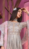 EMBROIDED NET FRONT, BACK AND SLEEVES. EMBROIDED HANDMADE NET BODY. EMBROIDED JAMAWAR FRONT AND SLEEVES PATCH. EMBROIDED JAMAWAR BACK DAMAN. EMBROIDED FRONT AND BACK GRIP PATTI EMBROIDED ORGANZA DUPATTA . GRIP TROUSER AND ACCESSORIES.