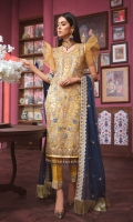 EMBROIDED HANDMADE NET FRONT. EMBROIDED NET BACK AND SLEEVES. EMBROIDED HANDMADE FRONT AND TROUSER PATTI EMBROIDED CHIFFON DUPATTA. GRIP TROUSER AND ACCESSORIES.