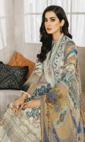 Formal Dress with Hand Embroidered: Lawn Body (Front, Back & Sleeves), Embroidered Organza Patti Patch (Front & Back). Paired with Digital Print Chiffon Dupatta and Cotton Trouser.