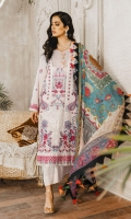 Formal Dress with Embroidered: Lawn Body (Front, Back & Sleeves), Embroidered Organza Patti Patch (Front, Back & Sleeves ). Paired with Digital Print Silk Dupatta and Cotton Trouser.
