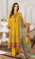 Formal Dress with Hand Embroidered: Lawn Body(Front, Back & Sleeves), Embroidered Organza Daman Patch (Front & Back), Embroidered Organza Patti Patch (Front, Back & Sleeves). Paired with Digital Print Chiffon Dupatta and Cotton Trouser.