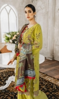 Formal Dress with Embroidered: Lawn Body (Front, Back & Sleeves). Paired with Digital Print Silk Dupatta and Cotton Trouser.