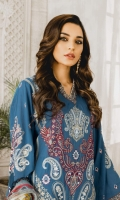 Formal Dress with Hand Embroidered: Lawn Body (Front, Back & Sleeves). Paired with Digital Print Dupatta and Cotton Trouser.