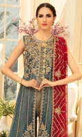 EMBROIDERED NET HANDMADE FRONT PANELS & BODICE EMBROIDERED NET SLEEVES & BACK EMBROIDERED HANDMADE DAMAN PATCH EMBROIDERED CHIFFON DUPATTA JAMAWAR TROUSER