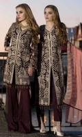 EMBROIDERED CHIFFON FRONT BACK AND SLEEVES EMBROIDERED CHIFFON DUPPATA EMBROIDERED FRONT BACK DAMAN PATCH GRIP TROSER AND ACCESSORIES