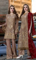 EMBROIDERED CHIFFON FRONT BACK AND SLEEVES EMBROIDERED DUPPATA EMBROIDERED FRONT BACK DAMAN PATCH EMBROIDERED GRIP TROUSER AND ACCESSORIES
