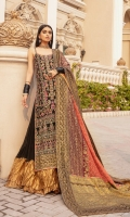 EMBROIDERED CHIFFON FRONT BACK AND SLEEVES EMBROIDERED JAMAWAR FRONT BACK PATTI EMBROIDERED ORGANZA DUPATTA WITH ORGANZA AND JAMAWAR PATCH GRIP SHARAH-RAH WITH MESORI PATCH