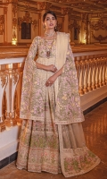 EMBROIDERED ORGANZA FRONT AND BACK EMBROIDERED ORGANZA SLEEVES AND BODY JAAL EMBROIDERED ORGANZA FRONT BACK DAMAN PATCH ORGANZA DUPATTA WITH EMBROIDERED ORGANZA PATCH AND GRIP TROUSER