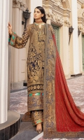 EMBROIDERED CHIFFON FRONT BACK AND SLEEVES EMBROIDERED CHIFFON DUPATTA WITH MESORI PATCH EMBROIDERED MESORI FRONT BACK DAMAN PATCH EMBROIDERED ORGANZA SLEEVES GRIP TROUSER WITH EMBROIDERED ORGANZA PATCHSES