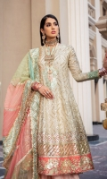EMBROIDERED ORGANZA FRONT BACK SLEEVES EMBROIDERED ORGANZA FRONT BACK PATTI EMBROIDERED ORGANZA SLEEVES PATTI EMBROIDERED ORGANZA DUPATTA WITH EMBROIDERED PATCHES EMBROIDERED GRIP TROUSER