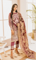 EMBROIDERED ORGANZA FRONT AND SLEEVES EMBROIDERED NECK PATTI PATCHS ORGANZA BACK EMBROIDERED ORGANZA FRONT AND BACK SLEEVES AND TROUSER PATTI PATCHES JACQUARD DUPATTA GRIP TROUSERS