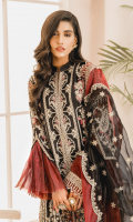 EMBROIDERED ORGANZA FRONT AND SLEEVES ORGANZA BACK EMBROIDERED ORGANZA FRONT AND BACK PATTI PATCHS EMBROIDERED ORGANZA FRONT AND BACK JAAL EMBROIDERED ORGANZA DUPATTA WITH ORGANZA PATCHES PRINTED TROUSERS