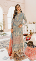 EMBROIDERED CHIFFON FRONT AND SLEEVES CHIFFON BACK EMBROIDERED ORGANZA FRONT AND BACK PATTI PATCHS EMBROIDERED ORGANZA FRONT JAAL EMBROIDERED CHIFFON TIE DYE DUPATTA WITH EMBROIDERED PATTI GRIP TROUSERS