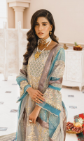 EMBROIDERED ORGANZA FRONT AND SLEEVES ORGANZA BACK EMBROIDERED ORGANZA FRONT AND BACK TROUSER PATTI EMBROIDERED NET LASER DUPATTA JAMAWAR TROUSERS