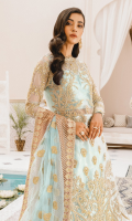 EMBROIDERED NET HANDMADE FRONT AND SLEEVES NET BACK EMBROIDERED HANDEMADE NECK PATCHE EMBROIDERED ORGANZA SLEEVES AND BACK PATTI EMBROIDERED NET DUPATTA WITH ORGANZA PATCH EMBROIDERED NET LENGHA JAMAWAR INNER