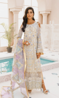 EMBROIDERED CHIFFON FRONT BACK AND SLEEVE EMBROIDERED CHIFFON BACK EMBROIDERED ORGANZA FRONT BACK AND SLEEVES PATCH NET LASER EMBROIDERED DUPATTA JAMAWAR TROUSER