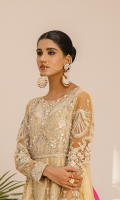 EMBROIDERED NET HANDEMADE FRONT SLEEVES AND BODY NET BACK AND BODY EMBROIDERED ORGANZA HANDEMADE FRONT DAMAN EMBROIDERED ORGANZA BACK DAMAN NET DUPATTA WITH EMBROIDERED PATCHES AND MASORI PATCH JAMAWAR TROUSER
