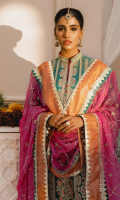 EMBROIDERED CHIFFON FRONT AND SLEEVES CHIFFFON BACK EMBROIDERED ORGANZA FRONT AND BACK DAMAN PATCHES EMBROIDERED CHIFFON DUPATTA WITH JAMAWAR PATCH EMBROIDERED JAMAWAR GHARARA