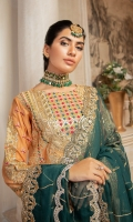 EMBROIDERED MESORI FRONT, BACK & SLEEVES EMBROIDERED DAMAN PATCH EMBROIDERED SLEEVES PATTI EMBROIDERED CHIFFON DUPATTA EMBROIDERED GRIP TROUSER