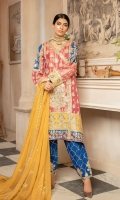 EMBROIDERED MESORI FRONT PANEL, SIDE PANEL EMBROIDERED MESORI BACK & SLEEVES EMBROIDERED GRIP DAMAN & SLEEVES PATCHES EMBROIDERED NECK PATTI EMBROIDERED CHIFFON DUPATA EMBROIDERED GRIP TROUSER