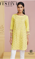 Lawn Ready To Wear Kurta  Boat Neckline Embroidered Front  Embroidered3/4 Sleeves Plain Back