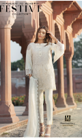 Lawn Ready To Wear 3 Piece Suit Boat Neckline Embroidered Front  Embroidered Full Sleeves Plain Back  Embroidered Chiffon Dupatta  Plain Trouser