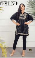 Lawn Ready To Wear Kurta  Banded Neckline Embroidered Front  Embroidered 3/4 Sleeves Plain Back