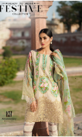 Lawn Ready To Wear 3 Piece Suit Boat Neckline Embroidered Front  Printed Full Sleeves Printed Back  Printed Chiffon Dupatta  Plain Trouser