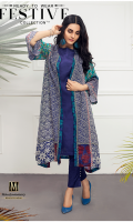 Ready To Wear Gown Banded Neckline Printed Front  Printed Full Sleeves Printed Back