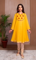 AN A LINE FROCK WITH GOLD LACES AND EMBROIDERED YOKE