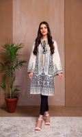 A BEAUTIFUL PASTE PRINTED SHIRT WITH EMBROIDERED SLEEVES AND GOLD LACE ON NECK.