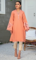 A KASHMIRI NECK COTTON LAWN SHIRT WITH SHITCHING DETAILS ON FRONT AND EMBROIDED SLEEVES
