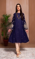 A STYLISH FROCK  WITH HEAVY GOLD EMBROIDERED SLEEVES AND STITCHING DETAILS ON FRONT