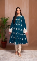 A FROCK WITH EMBROIDERED FRONT AND SLEEVES. ACCESSORIESED FOR EID.