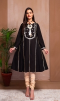 AN A LINE FROCK WITH EMBROIDERED YOKE AND SLEEVES