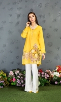 A mustard stitched shirt with elaborate embroidery on front and heavily adorned with laces and stitching details.
