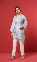 A light blue stitched shirt with embroidered daman, scalloped neck, accentuated with silver laces.