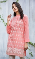 A PERFECT PEACH REAY TO WEAR SHIRT WITH EMBROIDERED FRONT AND ELABORATE DAMAN BORDER.