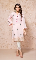 A PRETTY PINK READY TO WEAR SHIRT WITH EMBROIDERED FRONT AND HEAVY DAMAN BORDER HIGHLIGHTED WITH STITCHING DETAILS AND EMBELLISHMENTS.