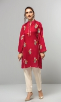 A red stitched shirt with embroidered floral bunches on front and sleeves.