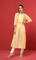 A lemon yellow paper cotton flared shirt accentuated with stitching details and adorned with golden laces.