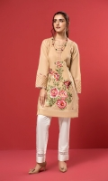 A beige stitched shirt with a bold multi-coloured embroidered front, heavily adorned sleeves with stitching details.