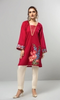 A crimson red stitched shirt with a floral daman embroidery and embroidered sleeves. Enhanced neck line with gold laces.