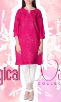 linen Embroidered Ready To Wear Kurta  Boat Neckline Embroidered Front 3/4 Sleeves Straight Hem Plain Back