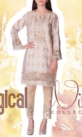 Slub Embroidered Ready To Wear Kurta  Banded Neckline Embroidered Front Full Sleeves Straight Hem Printed Back