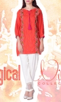 linen Embroidered Ready To Wear Kurta  Boat Neckline Embroidered Front 3/4 Sleeves Short Length Straight Hem  Plain Back